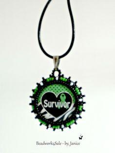 Green Ribbon  Transplant Survivor   Organ Donor by Beadwork4Sale