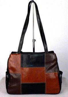Basido Womens Black Brown Gloss Textured Handbag Large Shoulder Tote Las Bag