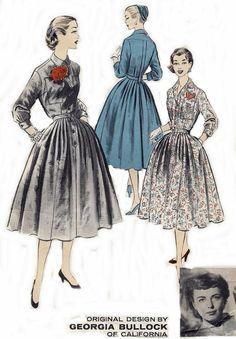 50s Vintage Advance Pattern 7535 Georgia Bullock Dress Bust 32 Original not a Repro Vintage Sewing Pattern Vintage Supply