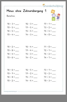 Rechnen Lernen Vorschule – Rebel Without Applause Math Addition Worksheets, 1st Grade Math Worksheets, Subtraction Worksheets, First Grade Math, Preschool Worksheets, Rhyming Words, Baby Education, Math Class, Math For Kids