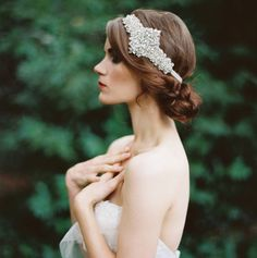 A vintage inspired headpiece worn with low bun - Beautiful! // Emily Riggs Bridal, Photography by Erich Mcvey. Bridal Updo, Headpiece Wedding, Wedding Veils, Bridal Headpieces, Wedding Bride, Dream Wedding, Wedding Dress, Wedding Garters, Bridal Hairstyle
