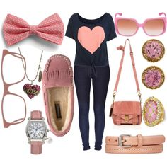"""Teen Outfit."" by robinthesidekick on Polyvore even though im not a pinky kinda girl but i like this"