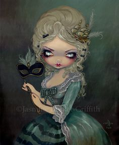 masked illustration mask masquerade cute style marie antoinette