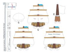 pop-up card Pattern__Sailing boat in the sky_ Digital