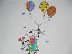Childrens Art Little Cow Floating with by kristiegrovedesigns, $16.00