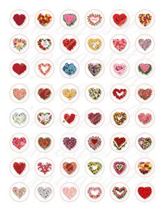 Flower Heart bottle cap collage sheet circles by images4you
