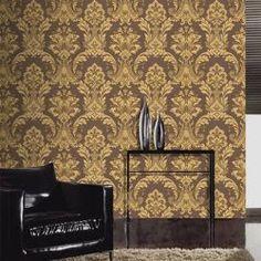 Brown Gold Damask Wallpaper