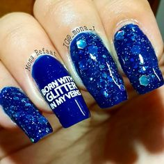 I was So BORN WITH GLITTER IN MY VEINS! #Nalfie #Nails #NaliePic #Cred>>BY @_mona_I #MonaRefaat #Instagram #BLUENAILS #GLITTER #BLUEPOLISH #STAMPING#UBERCHIC #STAMPLATES #STAMPART
