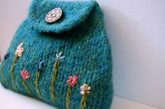 Flower garden change purse - embroidered flowers on knitting