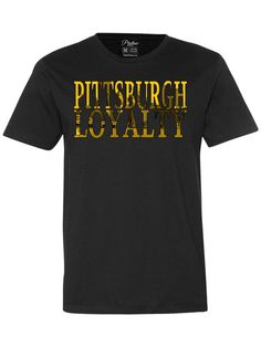 Pittsburgh Skyline in Pittsburgh Black & Yellow. show your loyalty to Pittsburgh with this t-shirt of the city's skyline. - 100% ringspun cotton - Pre-washed - Double-stitched neckline - Machine wash