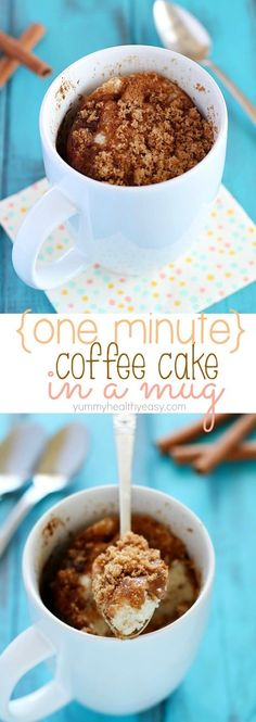 This Coffee Cake in a Mug is so easy to make and takes only a minute in the microwave. Quickest breakfast ever, and conveniently in a mug!