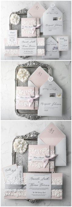 Grey and pink vinatge lace wedding invitations