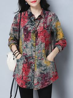 Casual Tree Printed Turn-Down Collar Women Shirts look not only special, but also they always show ladies' glamour perfectly and bring surprise. Stylish Dresses For Girls, Stylish Dress Designs, Casual Dresses, Short Kurti Designs, Kurta Designs Women, Mode Abaya, Mode Hijab, Kurta Neck Design, Tunic Designs