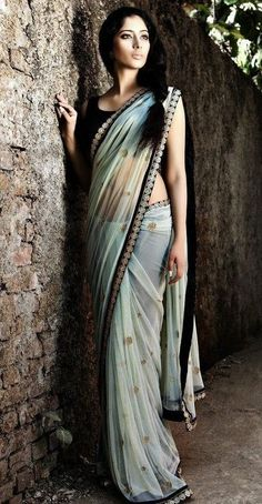 Classical Look Off White Color Chiffon #Ethnic #Saree
