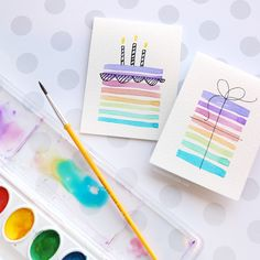 Easy DIY Birthday Cards Using Minimal Supplies : Easy DIY Birthday Card Using Minimal Supplies - CAS - Watercolor by Kristina Werner - visit for video Bff Birthday Gift, Happy Birthday Cards, Birthday Presents, Birthday Wishes, Cake Birthday, Birthday Ideas, Birthday Design, Easy Diy Birthday Cards, Best Friend Birthday Cards
