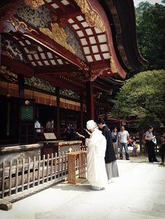 太宰府天満宮の挙式では、必ず御本殿に報告で玉串を捧げます