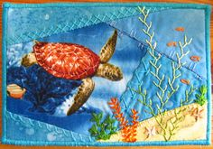 Under The Sea fabric postcard