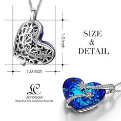 """LadyColour """"Venus"""" Swarovski Crystals Heart Sapphire Pendant Necklace,Women Fashion Heart Jewelry,Valentines Day Gifts Mothers Day Gifts Birthday Gifts Anniversary Gifts Christmas Gifts for Women"""