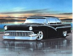 1956 Ford Fairlane Victoria Hardtop Hot Rod Car Art Print
