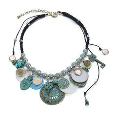 eManco Handmade Vintage Dichiarazione etnici corda lega collane girocollo Coin per le donne