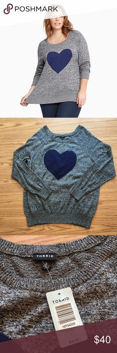 NWT Torrid Heart Raglan Sweater This beautiful, brand new sweater is a perfect way to get ready for fall! It's super cute and flattering. Sold out online in this size! ⭐️Same or next day shipping ⭐️I love offers! ❤ ⭐️15% off a bundle of 3+ items ⭐️Additional pictures or measurements upon request torrid Sweaters Crew & Scoop Necks