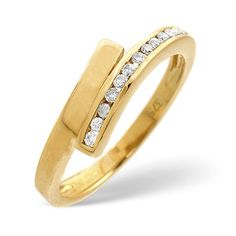 Diamond Essentials 0.10 Ct Crossover Diamond Ring In 9 Carat Yellow Gold From the Diamond Essentials collection in 9 Carat Yellow Gold. Ladies. Presented in a Contemporary hardwood gift box. Our price: pound