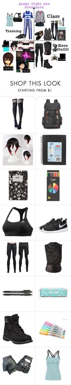 """""""Boku No Hero Academia OC #1"""" by chibi-space-gal ❤ liked on Polyvore featuring Ana Accessories, 10¹² Terra, Design Letters, Polite, adidas, NIKE, Tom Ford, Paper Mate, Boohoo and Timberland"""