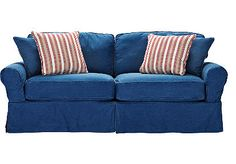 This Cindy Crawford sleeper/sofa from Rooms To Go is the most snuggly couch I've sat on in a long time.  I got it in Denim for a guest room and the pull out sofa is just as comfortable. And let me just say, when this couch was delivered, I sat down, it sucked me in, and I slept for hours all snuggled in on a couch as soft and comfortable as a favorite old pair of blue jeans.  Quite affordable, as well.
