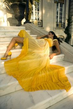 Sexy. Yellow. Sunshine. Gown. Flow fantastic. Marble stairs. Yellow shoes.