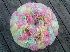Spring Wreath with Coffee Filters and Food Coloring ~ * THE COUNTRY CHIC COTTAGE (DIY, Home Decor, Crafts, Farmhouse)