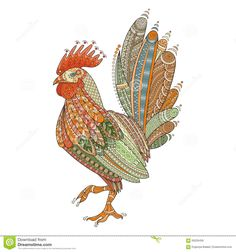 Rooster Domestic Farmer Bird For Coloring Pages, Zentangle Illustration Or Tattoos With High Details. Stock Vector - Image: 69226458