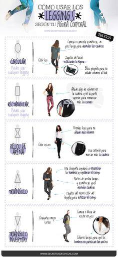 ¿Os gusta usar leggings? Hoy os traigo algunos consejos sobre cómo usar los leggings según vuestra figura corporal. ¡Espero que os sirva!