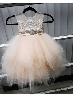 flower girl dress 'Bianca' with rhinestone sash door somsicouture