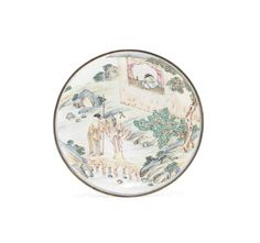 A fine and rare painted enamel 'Romance of the Western Chamber' dish 18th century