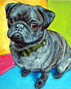 Pug Art Print of Original Painting by Dottie Dracos, Dog Art Bright, children's…