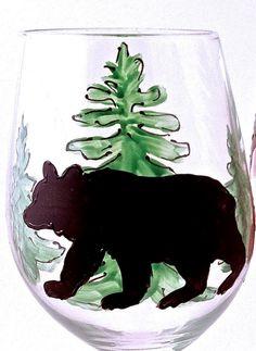 Bear Silhouette with Pine Tree Wine Glass by LesliesPaintedGlass