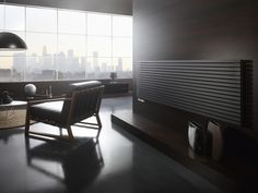 Radiator Sorento - Black colors will always look good together. Home Radiators, Vertical Radiators, Large Windows, Picture Wall, Blinds, Curtains, Living Room, Chair, Interior