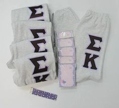 One of our on sale packs, available now. Click through to see how many are available (usually one) and for more information on the items included. It's practically a steal! Sorority Letters, Custom Greek Apparel, Sorority Outfits, Sigma Kappa, Greek Clothing, Sweatshirts, College, Clothes, Shopping