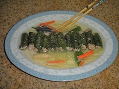 Shawna's Food and Recipe Blog: Pork Stuffed Vietnamese Perilla Leaves and Lemongrass Broth with Wax Peppers