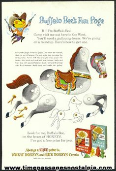 "1961 Nabisco Rice And Wheat Honeys Buffalo Bee's Advertising ""Fun Page"""