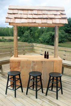 One of a kind Barnboard Bar with cedar shake roof.   Provisions for refrigerator underneith.   $295