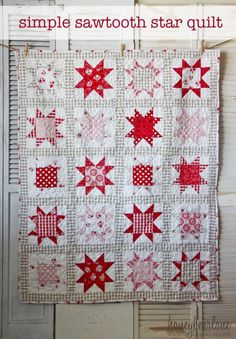 Simple Sawtooth Star Quilt Pattern - Honeybear Lane See how beautiful this sawtooth star quilt pattern turns out! Star Quilt Blocks, Star Quilt Patterns, Star Quilts, Mini Quilts, Two Color Quilts, Red And White Quilts, White Fabrics, Patchwork Quilting, Scrappy Quilts