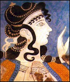 Detail of the fresco of the Blue Ladies about B. Minoan women from the Palace of Knossos, Crete.Illustrates a group of three women of high esteem in rich costumes who aim at the retention. Ancient Greek Art, Ancient Rome, Ancient Greece, Egyptian Art, Ancient Aliens, Greek History, Ancient History, Art History, European History
