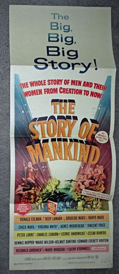 THE STORY OF MANKIND orig movie poster MARX BROTHERS/VINCENT PRICE/RONALD COLMAN