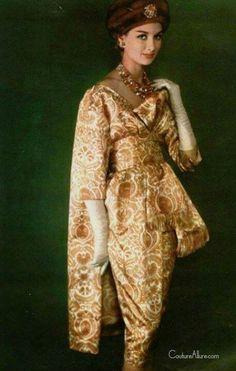 Model wearing fashion by Dior, 1958.