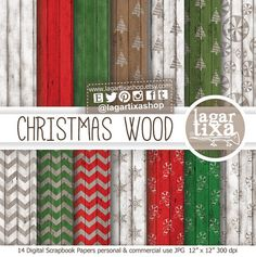 Christmas Digital Paper Christmas Wood Patterns Backgrounds Red Green White Tree Snow Flakes Candy Cane for Blog Invitations Greeting Cards