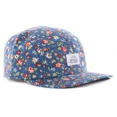477637144a886 Less Simple Logo Camp 5 Panel Cap - Flower Pattern Navy Indie Clothing  Brands