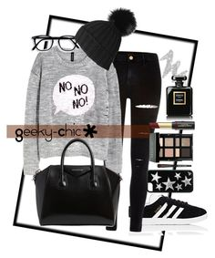 """Untitled #257"" by gaellerached on Polyvore featuring adidas, River Island, NYX, Givenchy, Black, Bobbi Brown Cosmetics, David Jones and Chanel"