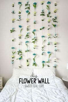 DIY Flower Wall Headboard Tutorial. #diy #headboard #cheapheadboard…