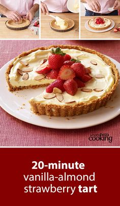 No one will believe you made this tempting tart in just 20 minutes but it's true. Just prep, chill for 3 hours or so, top with berries and nuts, and serve! Click or tap the photo for this Vanilla-Almond Strawberry Tart #recipe.